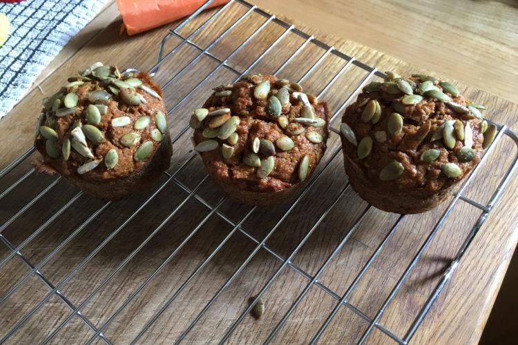 spelt carrot apple pumpkin seed muffins